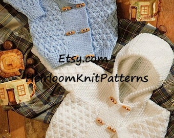 Baby Child Jackets Knitting Pattern V Neck and Hooded Jacket Boys Girls Double Knitting Pattern 18''-26'' Instant Download PDF Pattern - 761