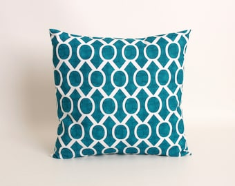 Teal Throw Pillow Cover in Premier Prints Aquarius Sydney Pattern, Designed to Fit 16, 18, 20 or 20 Inch Inserts