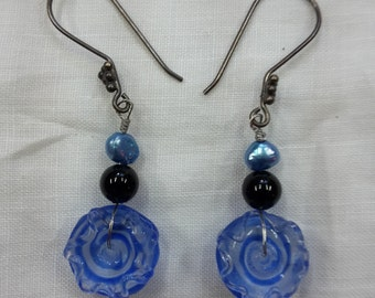 "Earrings dangle beaded ""blue saturns"" lampwork agate pearls"