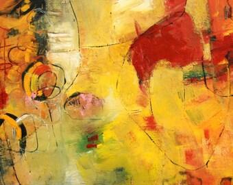 "ABSTRACT PAINTING  Original Art  ""Lumina"" Acrylic on 24""h x 48""w x 1.5"" canvas by Contemporary Artist Elizabeth Chapman"