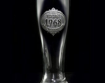 Birthday Beer Glass, Pilsner Glass Engraved with Vintage Year