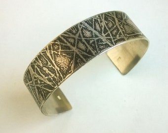 Etched Branches Sterling Silver Cuff Bracelet