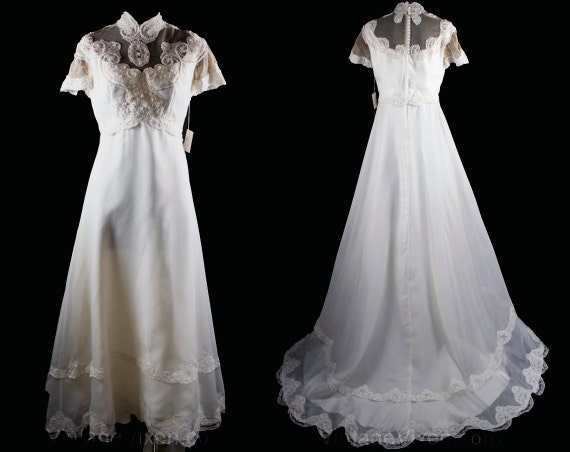 Rimmed Lace 34159 Gown Medium Bust 37 Waist Bridal Pearl with 60s Dress Style 5 Gibson 10 30 Antique 1 Inspired Girl Wedding Size OWq61fw4x