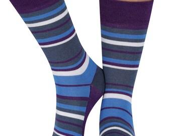 Random Stripe bamboo organic crew sock in purple | seriouslysillysocks