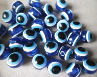 eye beads 10 x lucky striped dark blue acrylic 10 mm