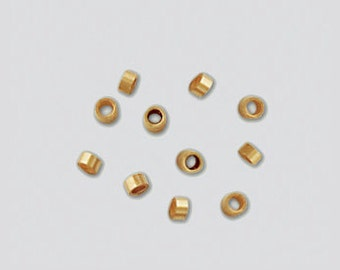 14k Gold Filled Crimp Beads, 2x1mm,  50 Beads, Findings, Supplies