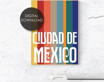 Ciudad de Mexico/ Mexico City / Poster / Art Deco / Modern Art / Typography / City Print / Instant Art /  Cinco de Mayo / CDMX / Vintage