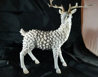 Vintage Majestic Standing White Stag Decoration flexible antlers 10.5 Tall 7.5 Long