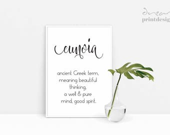 Eunoia Word Definition, Eunoia Print, Yoga Print, Inspirational Word, Motivational Print, Typographic Print, Dictionary Word Definition