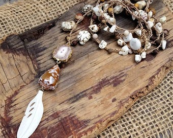 Long Crocheted Necklace / Crocheted Boho Necklace / Rustic Womens Necklace / Crocheted Y Necklace / Layering Necklace / Nature Lover Gift