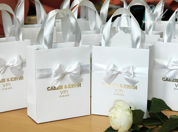 Luxury Wedding Gift Ideas: 70 Luxury Wedding Gift Bags With Satin Ribbon Bow And Gold