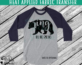 IRON On 97-1 Ring Bear Wedding Date Heat Applied T-Shirt Fabric Transfer *Specify Color Choice in Notes or BLACK VINYL