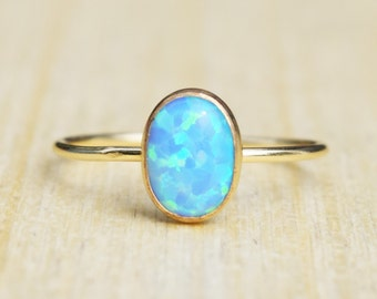 Gold Opal Ring, Delicate Gold Ring, Blue Opal Ring, Stacking Ring, Gold Plated Ring, Gold Filled Opal Ring, Gold Bezel Opal Ring