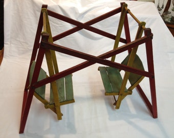 Vintage 1920's Wood Hanging/Glider Two Seat Swing - Store Window Display/Salesman Sample - All Original and Excellent Condition