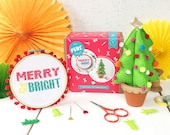 Christmas crafternoon kit- craft kit- cross stitch kit- stocking filler- gifts for her- stocking fillers for her- christmas craft- pom poms