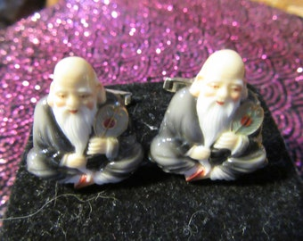 Vintage Buddha or Man of Wisdom Glass Japan Cufflinks Marked on Cuff and Back of Figure