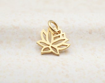 Dainty Lotus Flower Charm Gold Plated Sterling Silver Pendant