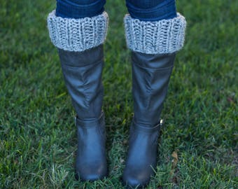 knit ribbed boot cuffs || gray marble || choose your color