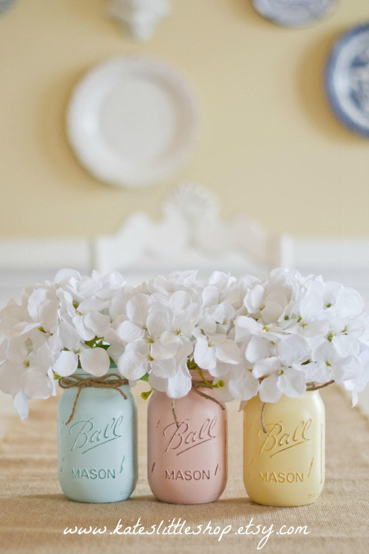 Painted Mason Jars. Vase. Vintage looking Painted Mason Jars