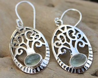 Silver tree of life and prehnite gemstone earrings