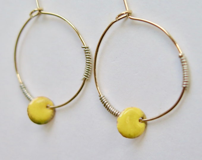 Yellow Enamel - Hoop - Earrings - 14kt Gold Filled - Boho - Handmade - Minimalist - Sterling Silver - Thin Hoops - Gift For Her - Free Ship