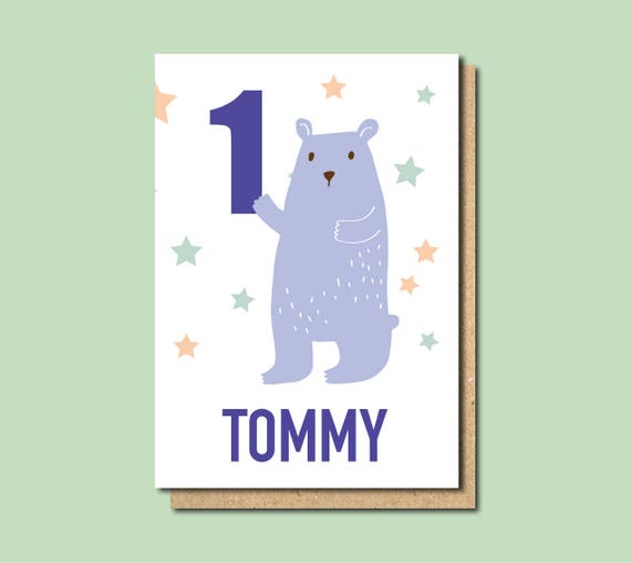 1st birthday card boy personalised 1st birthday card for boy like this item bookmarktalkfo Images