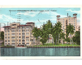 1930 Henrietta Towers, Miami, Florida Vintage Postcard, Veranda Apartments, Vintage Souvenir, Collectible Postcard, 1930's Miami.