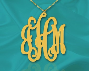 Monogram Necklace 1 1/4 inch 24K Gold Plated Sterling Silver Handcrafted Personalized Initial Necklace - Made in USA