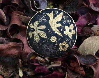 Vintage Damascene Gold Tone Brooch Spain Bird Flowers