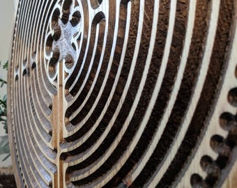 Labyrinth, Wood Carved labyrinth, Meditation Decor, Finger Labyrinth,