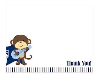 Rockstar Monkey Thank You Card DIY Printable file to match invites