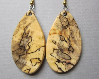 Lovely Spalted Tamarind Large Exotic Wood Earrings, Handmade by ExoticwoodJewelryAnd