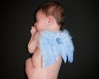 NEW Monogram Baby Boy Blue Feather Angel Wings -  Monogram Baby Boy Wings Photo Prop~ Initial Baby Wings ~ Baby Angel Wings