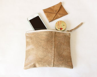 "Repurposed Leather Zipper Pouch / 8"" Everyday Embossed Reptile Leather Pouch"