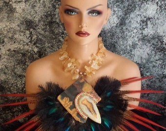 Theatrical Gemstone Feather Statement Necklace VRBA-like BROADWAY Jawdrop Necklace Femme Fatale Wow Factor Black Tie Excessive over the top