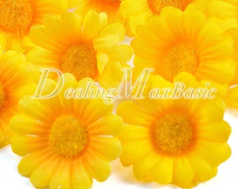 50pcs Yellow 40mm Gerbera Daisy Head Artificial Silk Flower For Clips Bridal Wedding Party Home Decor HS0002-3