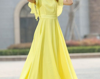 Yellow chiffon dress, wedding dress, maxi dress, prom dress, party dress, summer dress, swing dress, fitted dress, handmade dress (919)