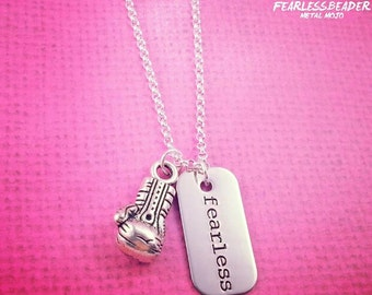 Fearless Boxing Necklace, MMA Jewelry, Muay Thai Jewelry, Boxing Glove, Fearless Necklace, Fearless Jewelry,  Boxing Necklace, WMMA, Fitness