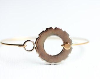 Round Hook Bracelet, Hook Bracelet, Gear Bracelet, Mixed Metal Bracelet, Gold Cuff, Small Bracelet, Tool Bracelet, Circle Bracelet, Cuff
