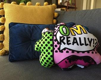 Pop Art Pillow   Decorative Pillow   Room Decor   Tween Room   Retro Cushion   Retro Pillow