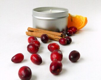 Cranberry Soy Candles Handmade / Pure Soy Candle / Holiday Scented Christmas Candle in 6 oz Travel Tin or 16 oz Mason Jar Stocking Stuffer