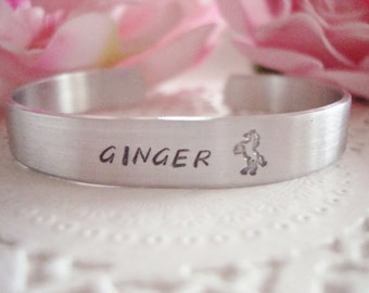 """Horse Lover Personalized Hand Stamped 3/8"""" Cuff Bracelet With Horse Made To Order"""