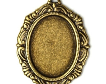 Ornate Settings 25x18mm Oval 1 Loop Brass Ox (2) FI421
