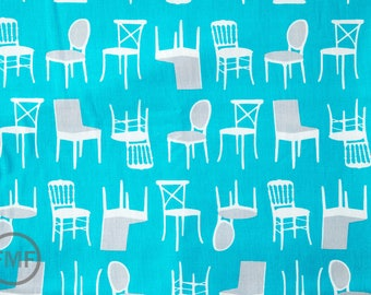 Perfectly Perched Chairs in Turquoise, Laurie Wisbrun, Robert Kaufman Fabrics, 100% Cotton Fabric, AWN-12851-81 TURQUOISE