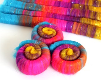 Rolags Merino Wool & Angelina Sparkle hand carded Mardi Gras Sparkle 100g