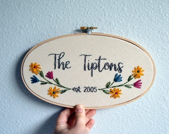 Custom Wedding Embroidery Hoop, Anniversary Gift, Wildflowers Last Name Sign, Family Name Sign, Housewarming Gift, Colorful Wall Art