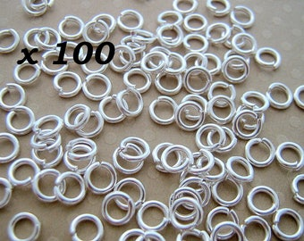 Set of 100 Silver jump rings 5 x 1 mm - L100168