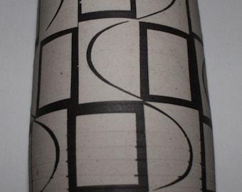 1960s 70s style studio pottery vase brown and cream