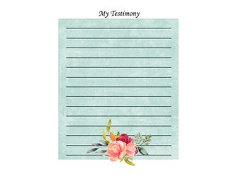 My Testimony sheets INSTANT DOWNLOAD printable, lessons, youth, family, FHE, handout, journal