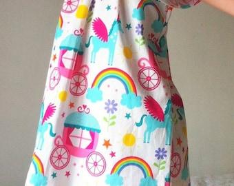 Unicorns, girls dresses, babies dress, handmade, todder, Peasant style dress, kids, pattern, rainbows, castles, fairytale, princesses, girl